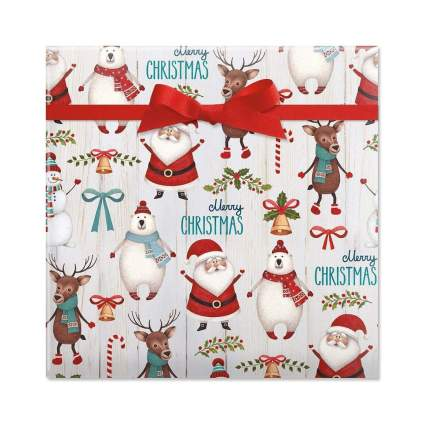 current Santa & Friends Jumbo Christmas Gift Wrap