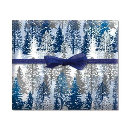 Current Snowy Trees Jumbo Rolled Gift Wrap