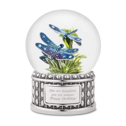 personalized dragonfly snow globe