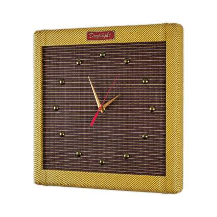 "Droplight Ind. Handcrafted 15"" Vintage Tweed Guitar Amp Wall Clock"