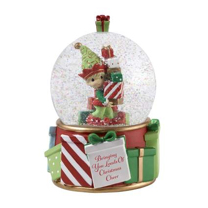 elf with presents snow globe