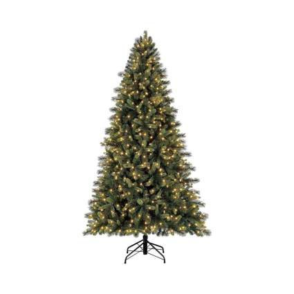 Evergreen Classics 7.5 feet Pre-Lit Norway Spruce Artificial Christmas Tree, Warm White LED Lights