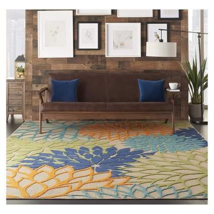 sculpted floral print indoor outdoor rug