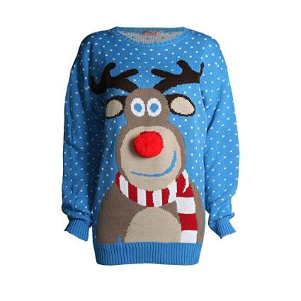 Forever Rudolph 3D Nose Kids Ugly Christmas Sweater