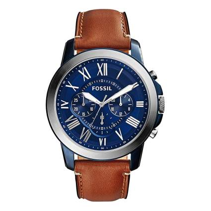 blue chronograph watch with leather band