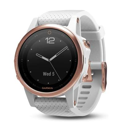 white and gold gps smartwatch