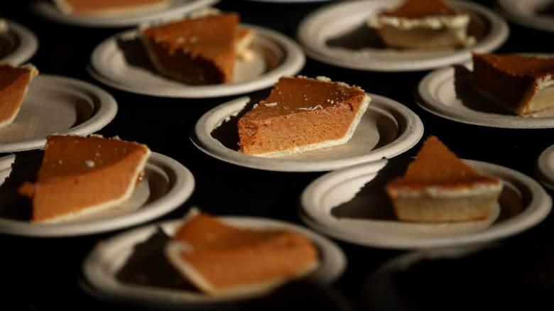 Bay Area Charities serve pumpkin pie slices on Thanksgiving.