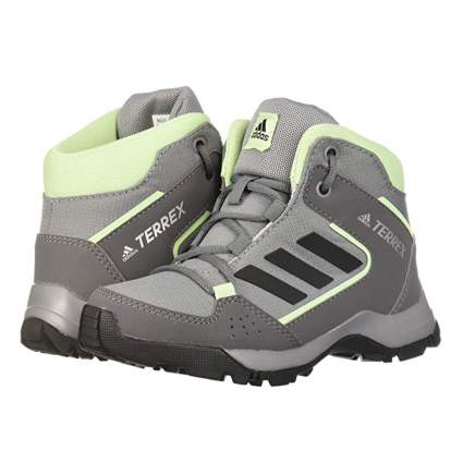 gray and green kids hiking boots