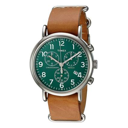 green chronograph watch with leather band
