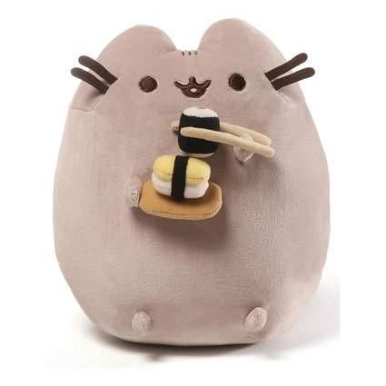 Pusheen cat eating sushi