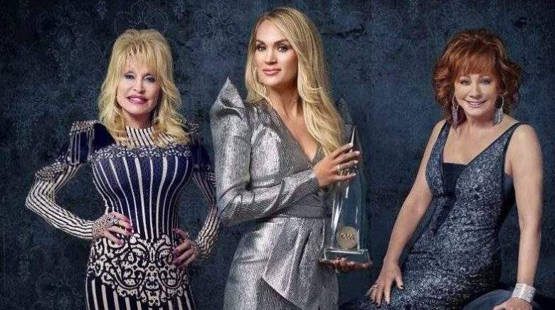 Carrie Underwood,Dolly Parton, and Reba McEntire host the 2019 CMA Awards.