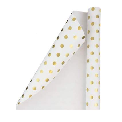 Jam Paper White with Gold Foil Dots Gift Wrap