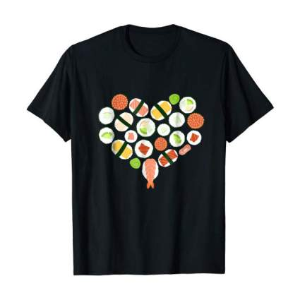 Black tee shirt with sushi design