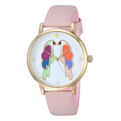 kissing parrots watch with pink band