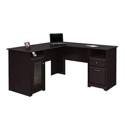 espresso oak L shaped office desk
