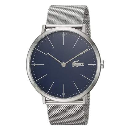 blue quartz watch with stainless steel mesh band
