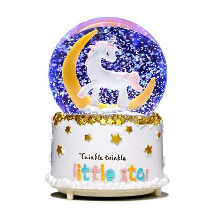 light up unicorn snow globe