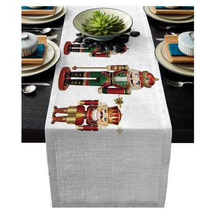 linen nutcracker table runner