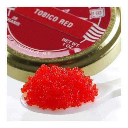 Spoonful of red topiko fish roe