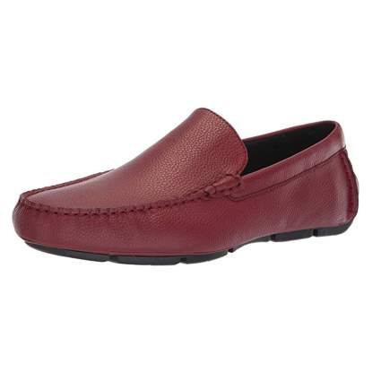 men's red pebbled leather driving shoe