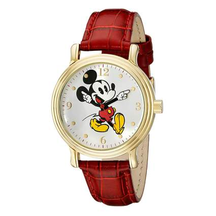 mickey mouse watch with red band