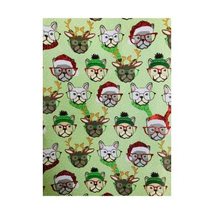 Molly & Rex Holiday French Bulldogs in Winter Attire Christmas Wrapping Paper