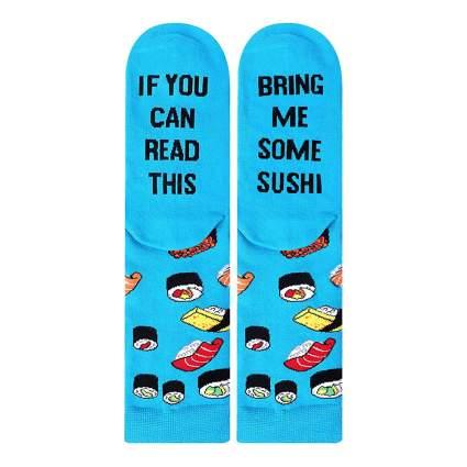 Bright blue sushi socks