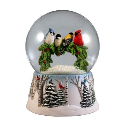 winter birds on a wreath snow globe