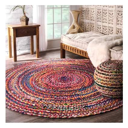 multi color braided round rug