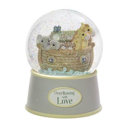 Noah's ark musical nursery snow globe