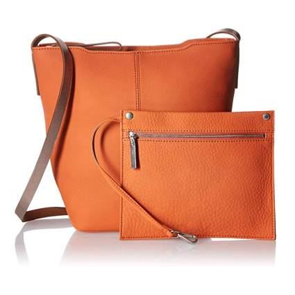 orange leather bucket bag and clutch