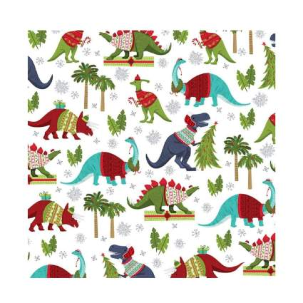 Party Explosions Jurassic Christmas Dinosaurs Holiday Gift Wrapping Paper