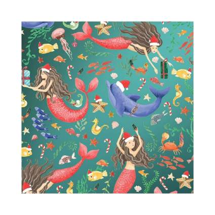 Party Explosions Merry Mermaids Holiday Gift Wrapping Paper