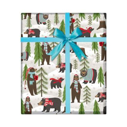 Party Explosions Woodland Winter Bear Holiday Gift Wrapping Paper
