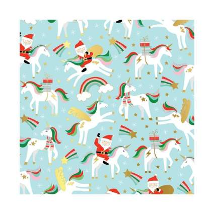 Party Explosions Unicorns Rainbows & Santa Holiday Gift Wrapping Paper