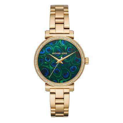 goldtone watch with peacock feather face