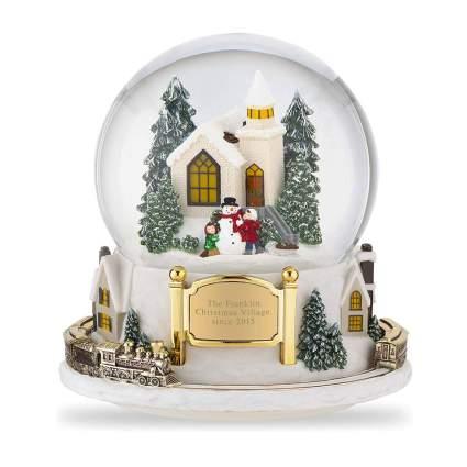 personalized winter village snow globe