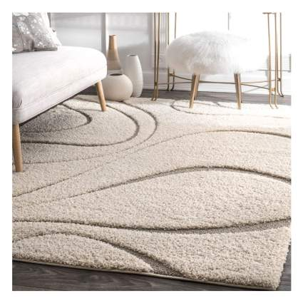 cream shag and pile swirl rug