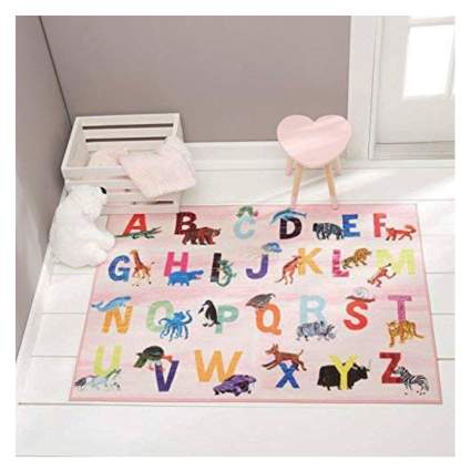 pink alphabet area rug