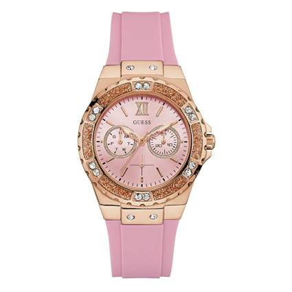 pink and gold watch with pink silicone band