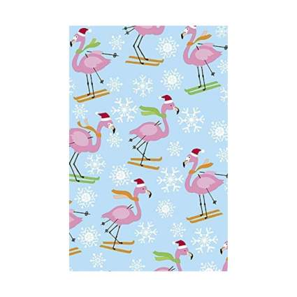 Revel & Co. Skiing Flamingos Christmas Wrapping Paper