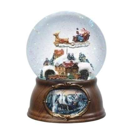 rotating santa musical snow globe
