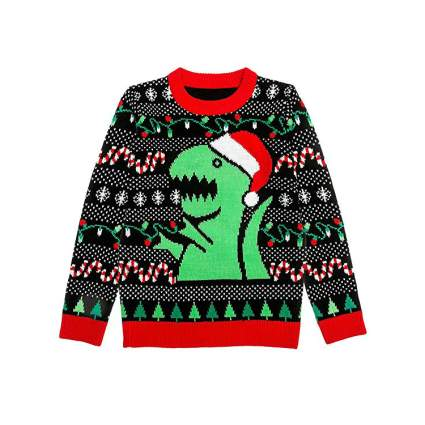Santa T-Rex Kids Ugly Christmas Sweater