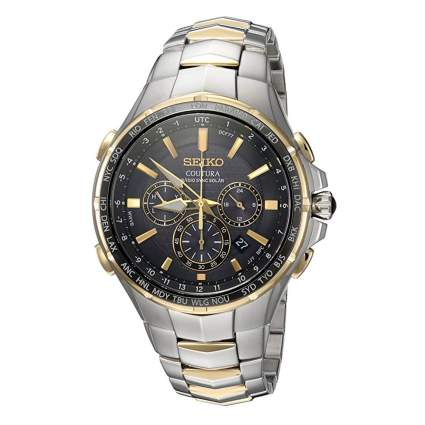 seiko two tone chronograph watch