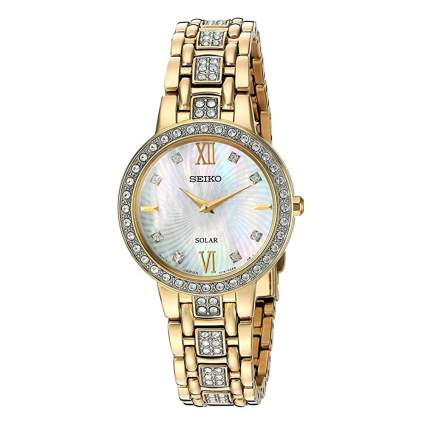 crystal studded women's dress watch