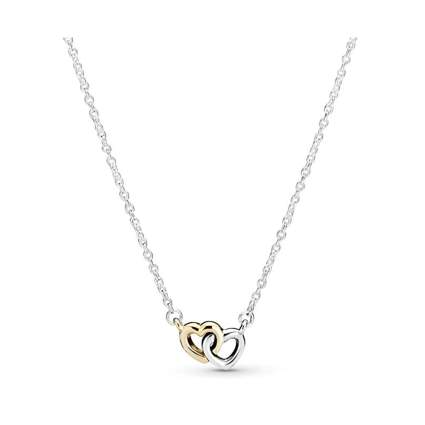 silver and gold two heart necklace