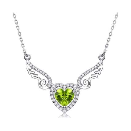 silver and peridot angel wing heart necklace