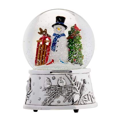 silver plated snowman snow globe