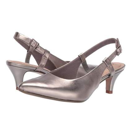 silver sling back pumps