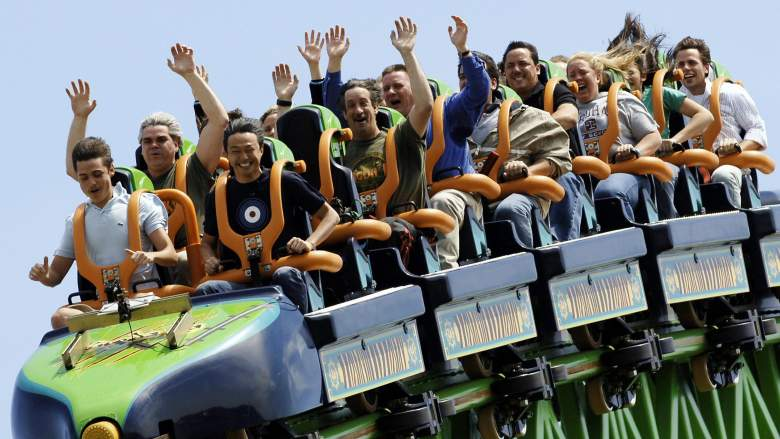 Riders take on one of Six Flag's many coasters.